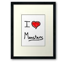 i love halloween monsters Framed Print