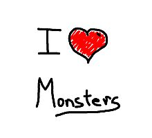 i love halloween monsters Photographic Print