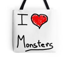 i love halloween monsters Tote Bag