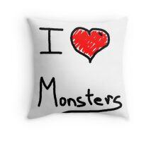 i love halloween monsters Throw Pillow