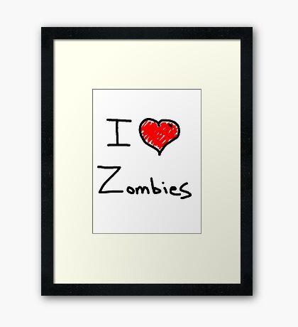 i love halloween zombies Framed Print