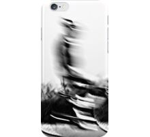 Motion blur of a bicycle rider in black and white  iPhone Case/Skin