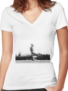 Motion blur of a bicycle rider in black and white  Women's Fitted V-Neck T-Shirt