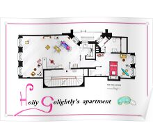 Breakfast at Tiffany's Apartment Floorplan v2 Poster