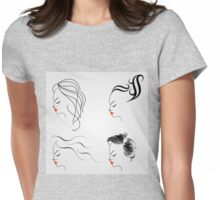 Women with different hairstyles  Womens Fitted T-Shirt