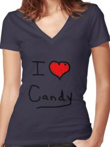 i love halloween candy  Women's Fitted V-Neck T-Shirt