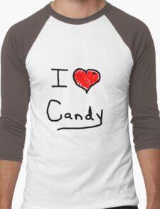 i love halloween candy  Men's Baseball ¾ T-Shirt