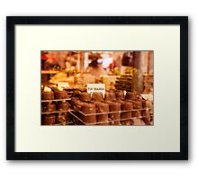 Delicious chocolate pralines in a window Framed Print