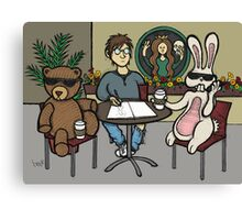 Teddy Bear And Bunny - Fifteen Minutes Of Fame Canvas Print