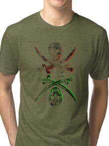 skull pirate vintage wash Tri-blend T-Shirt