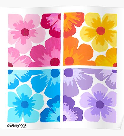 SMOOTH PAINTED FLOWERS Poster