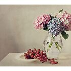 Still life with grapes and hydrangea by Ellen van Deelen