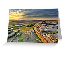 Last Light at Stanage Edge Greeting Card