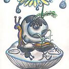 Indigo Rain, snail with daisy umbrella on a mushroom by Vicki Noble