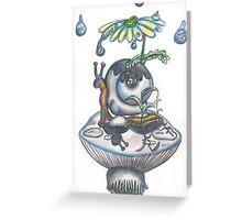 Indigo Rain, snail with daisy umbrella on a mushroom Greeting Card