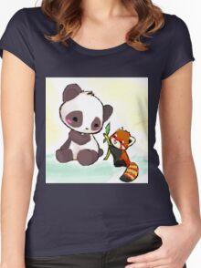 Cute Pandas  Women's Fitted Scoop T-Shirt
