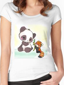 Cute Pandas  Women's Fitted Scoop T-Shirt