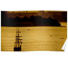Tall Ship On Sydney Harbour Poster