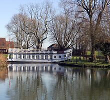 University College barge on the River Thames at Oxford. by Mike Lester