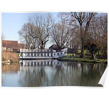 University College barge on the River Thames at Oxford. Poster