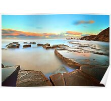 Sunset on The Rocks - Forresters Beach Poster