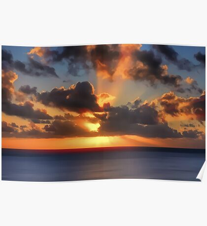 Sunburst Evening (Digital Art) Poster