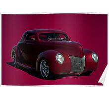 1939 Ford  Custom Chopped Coupe Hot Rod Poster