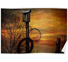 Blue Bird House and Barbed Wire Poster