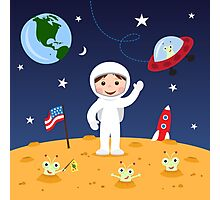 Friends in space cute cartoon wall art with boy astronaut and friendly aliens Photographic Print
