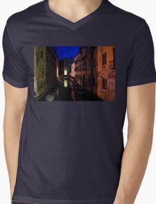 Venice, Italy - Nightscape on a Small Canal Mens V-Neck T-Shirt
