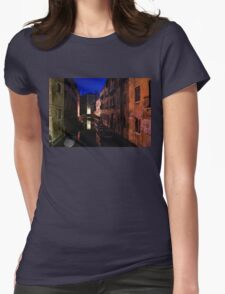 Venice, Italy - Nightscape on a Small Canal Womens Fitted T-Shirt