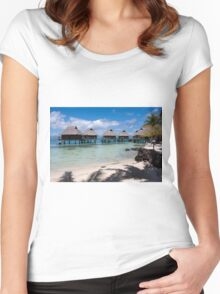 bungalows on stilts at a resort hotel Women's Fitted Scoop T-Shirt