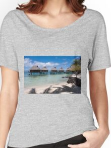 bungalows on stilts at a resort hotel Women's Relaxed Fit T-Shirt