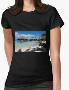 bungalows on stilts at a resort hotel Womens Fitted T-Shirt