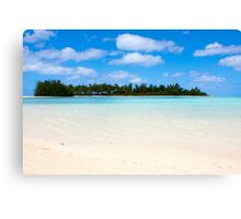 Tropical beach with palm trees and blue water Canvas Print