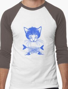 hunger cat blue Men's Baseball ¾ T-Shirt