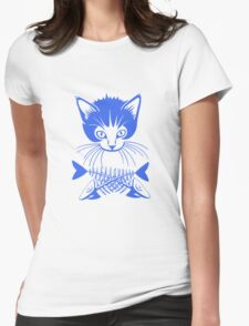 hunger cat blue Womens Fitted T-Shirt