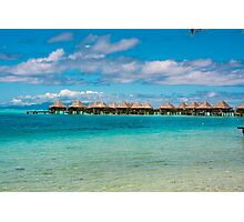 bungalows at a resort hotel, French Polynesia Photographic Print