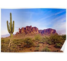 Saguaro cactus and Superstition Mountains Poster