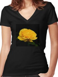 Golden Yellow Rose Isolated on Black Background Women's Fitted V-Neck T-Shirt