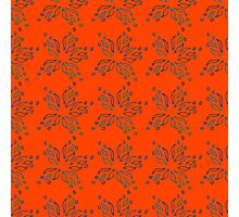 Stylized hand-drawn flowers on red background. Photographic Print