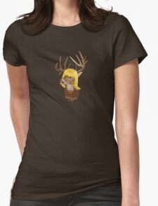 Deer Wig Womens Fitted T-Shirt