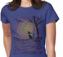 haunting Halloween black kitty cat being Aloof by spiral art tia knight Womens Fitted T-Shirt