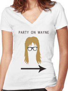 Party on Wayne Women's Fitted V-Neck T-Shirt