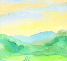 Hand-Painted Watercolor Green Rice Paddies Landscape by Beverly Claire Kaiya
