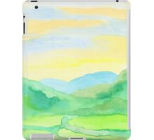 Hand-Painted Watercolor Green Rice Paddies Landscape iPad Case/Skin