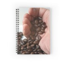 hand pouring out roasted Coffee Beans Spiral Notebook