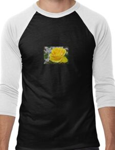 Beautiful Yellow Rose with Natural Garden Background Men's Baseball ¾ T-Shirt