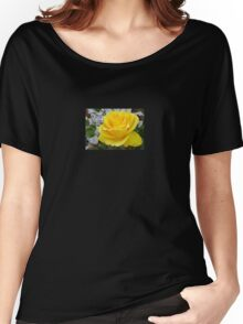 Beautiful Yellow Rose with Natural Garden Background Women's Relaxed Fit T-Shirt