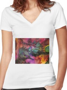 Abstract 1082 Women's Fitted V-Neck T-Shirt